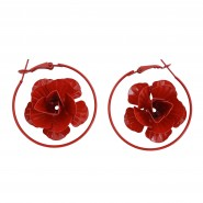 Red round-shape earrings with a red rose